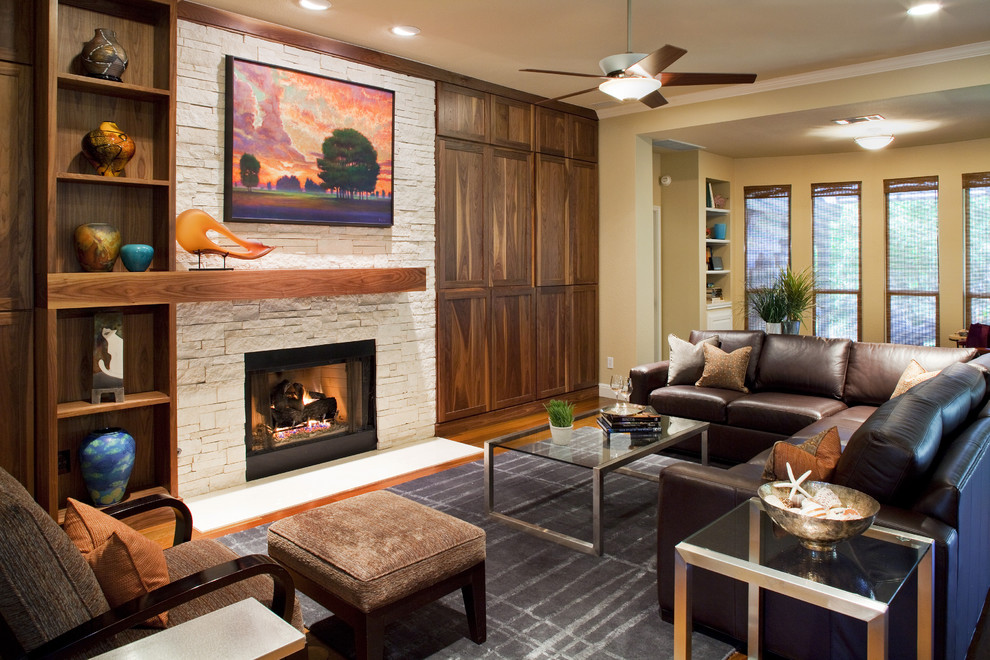 Stone Fireplace Mantels Living Room Contemporary with Area Rug Built in Shelves Built In