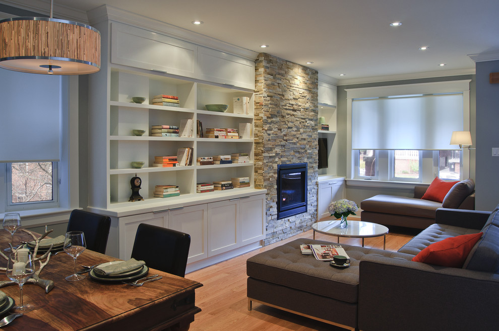 Stone Fireplace Mantels Living Room Contemporary with Built in Bookshelves Chaise Dining Table Fireplace