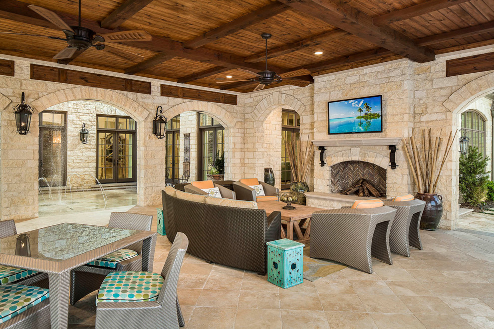 Stone Fireplace Mantels Patio Contemporary with Ceiling Beams Ceiling Fan Dark Wood Ceiling