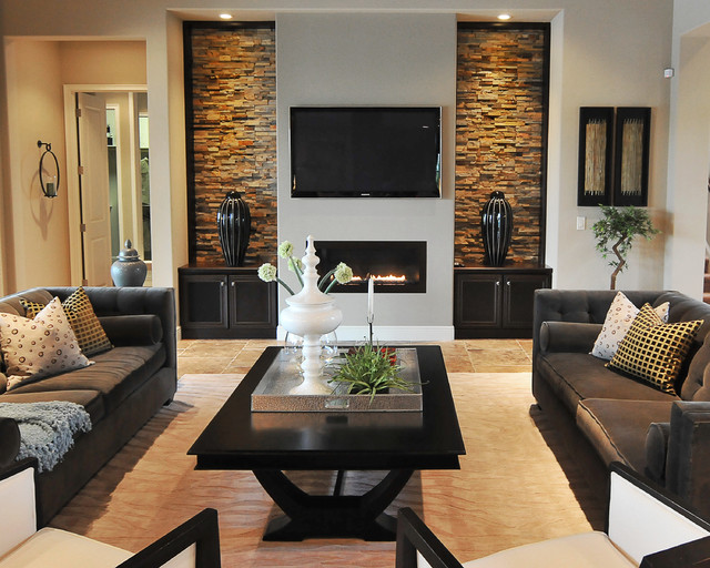 Stone Veneer Panels Living Room Contemporary with Area Rug Beige Rug Black Coffee Table Built Ins