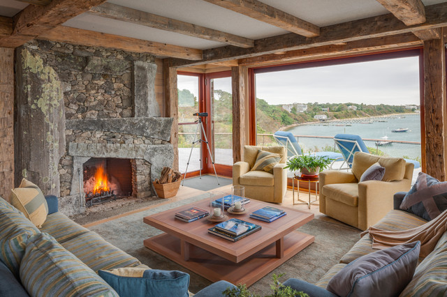 Stone Veneer Panels Living Room Rustic with Area Rug Drift Wood Driftwood Exposed Wood Ceiling Fireplace