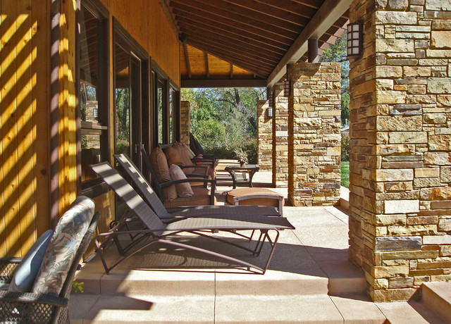Stone Veneer Panels Patio Contemporary with Chaise Lounge Covered Patio Covered Walkway Exposed Beams Outdoor
