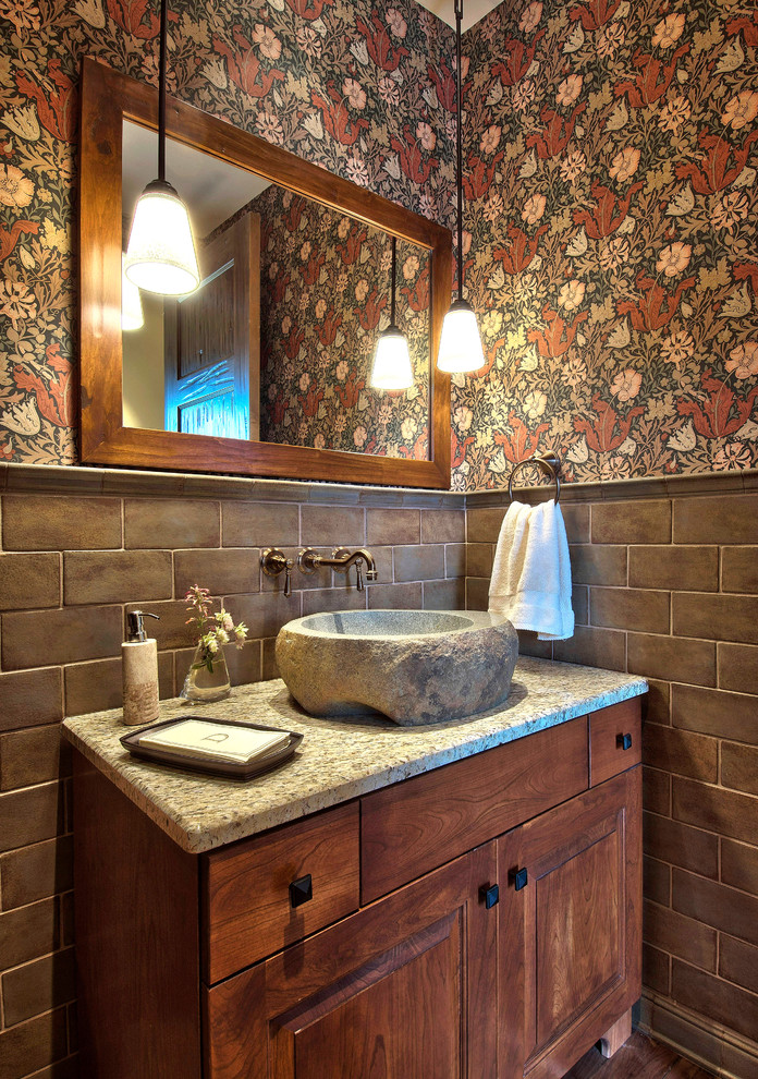 stone vessel sinks  Powder Room Traditional with bathroom mirror floral wallpaper freestanding  vanity pendant. stone vessel sinks Powder Room Traditional with bathroom mirror