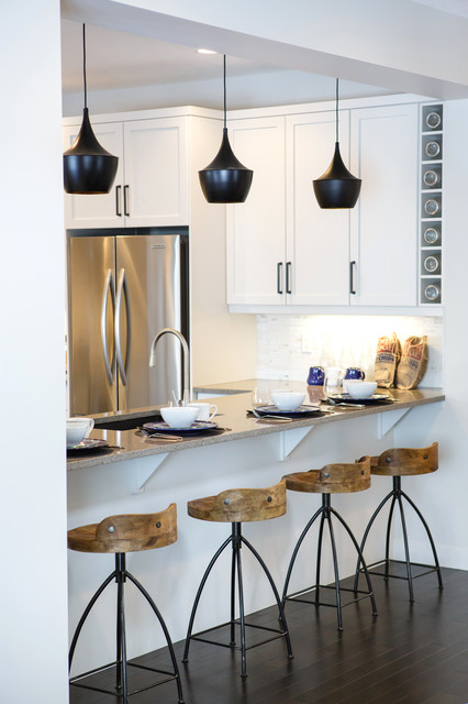 stools with backs Kitchen Contemporary with arteriors stools beige countertop black pendant light Calgary Interior