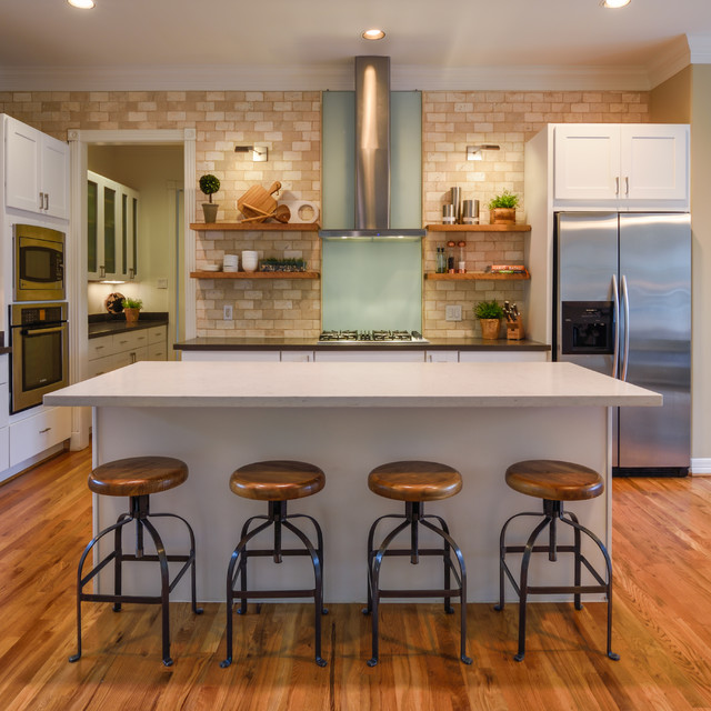 Stools with Backs Kitchen Contemporary with Barstools Brick Tile Butlers Pantry Crown Molding Cutting Board