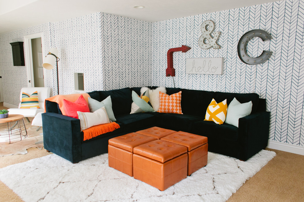 Storage Cube Ottoman Family Room Eclectic with Basement Blue and White Wallpaper Family Room