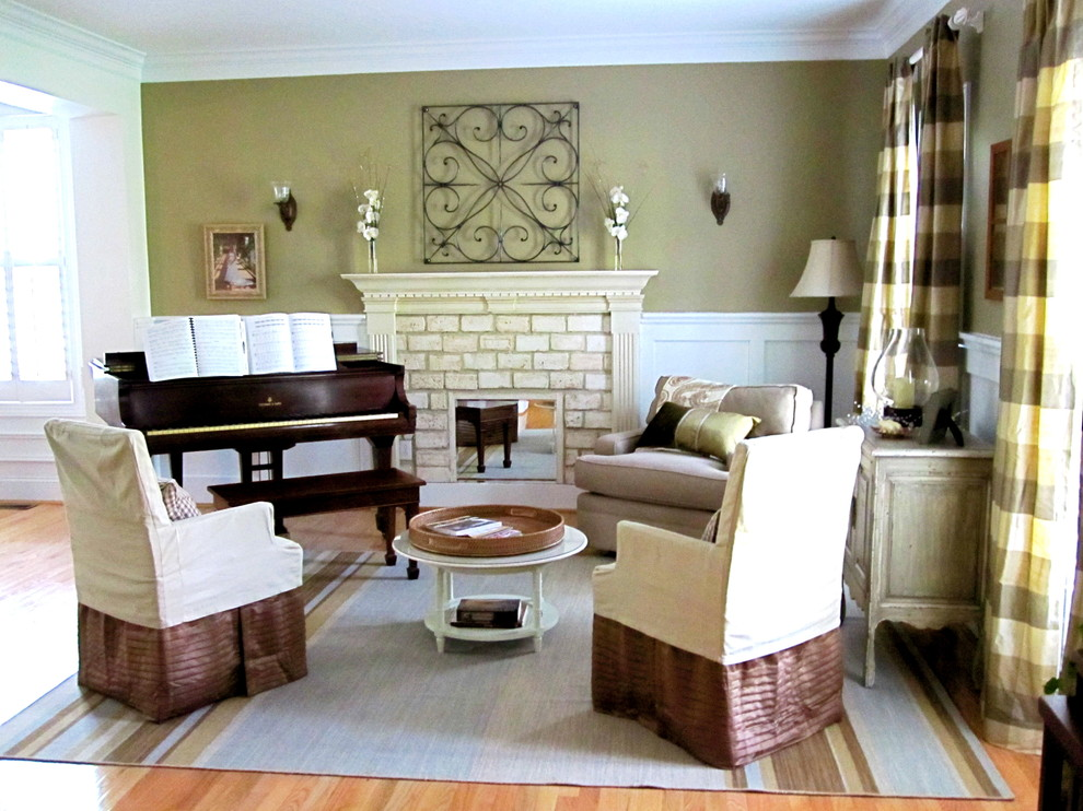 Storehouse Furniture Living Room Eclectic with Drapes Iron Mantle Molding Moulding Piano Striped