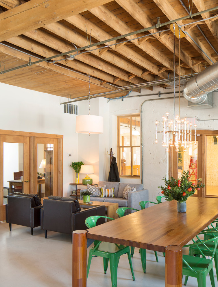 Storehouse Furniture Living Room Industrial with Chandelier Converted Loft Exposed Hvac Floral Arrangements