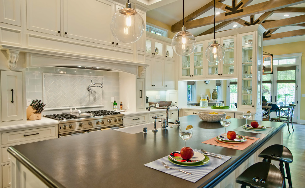 Stove Backsplash Kitchen Traditional with Black Countertop Clear Glass Cabinets Double Sided Cabinets