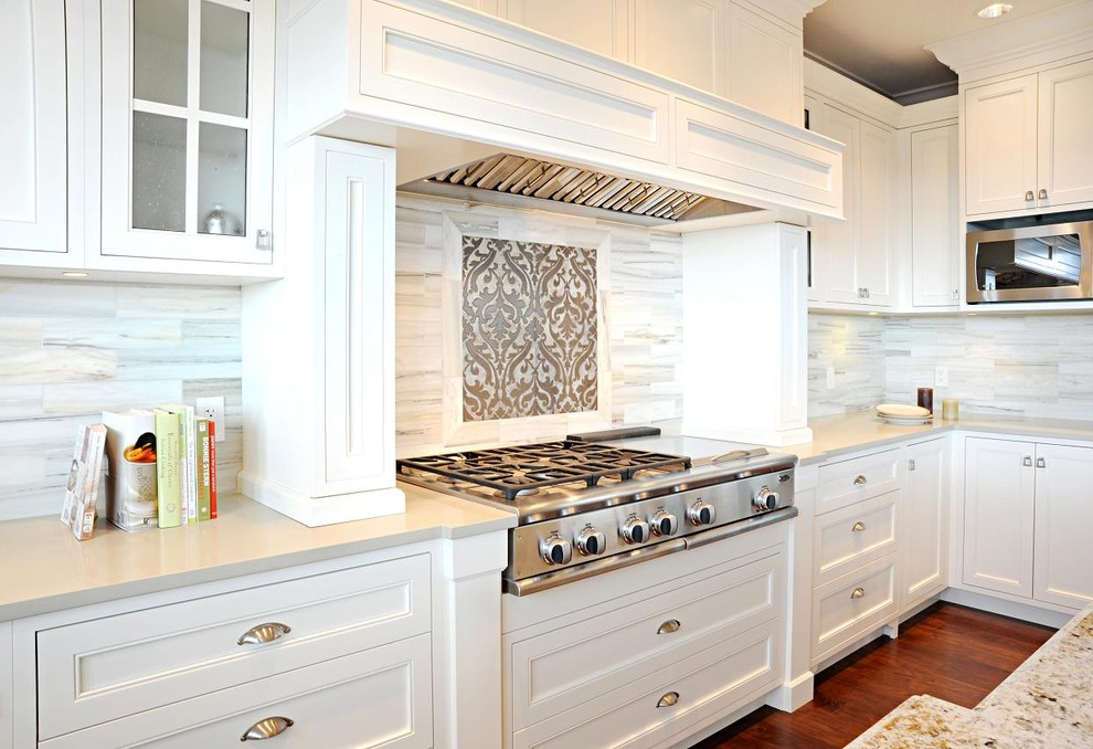 Stove Backsplash Kitchen Transitional with Custom Woodwork Drawer Pulls Glass Front Cabinets1