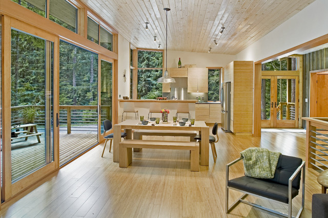 Strand Woven Bamboo Flooring Kitchen Modern with Deck Dining Room Bench Dining Room Chairs Dining Room