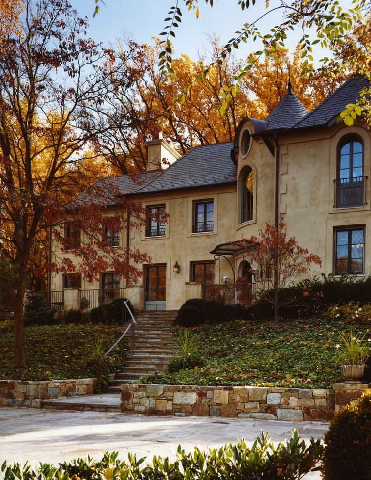 Stucco Finishes Exterior Traditional with Arched Window Estate France French Estate Front