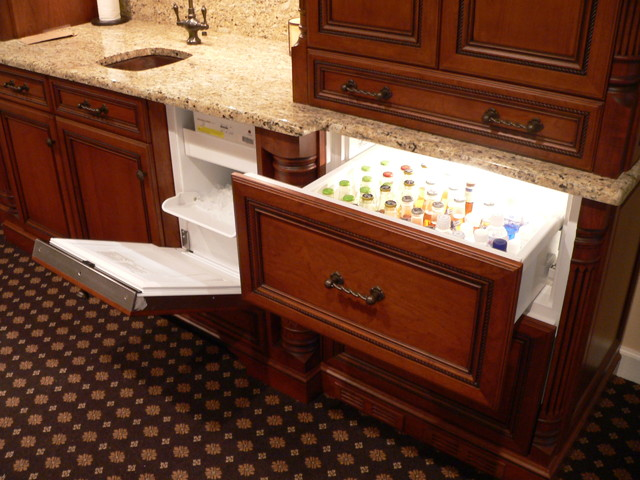 sub zero ice maker Basement Traditional with bar built-in appliance cherry custom