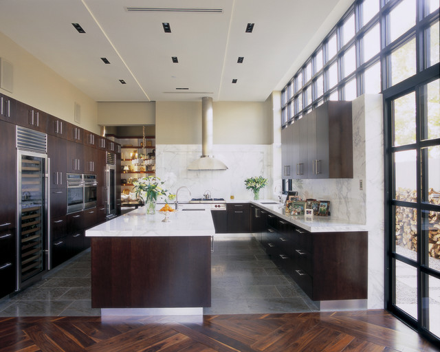 Sub Zero Ice Maker Kitchen Contemporary with Ceiling Lighting Clerestory Dark Wood Cabinets Divided Lights Kitchen