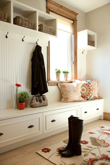Suction Cup Hooks Entry Traditional with Area Rug Beadboard Boots Built in Bench Seat Coat Hooks