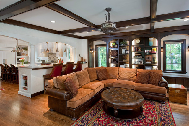 Suede Couch Family Room Traditional with Black Ceiling Beams Brown Ottoman Brown Sectional Sofa Brown