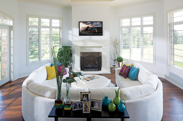 Suede Couch Living Room Contemporary with Console Crown Molding Curved Sofa Cushions Fireplace Fireplace Screen