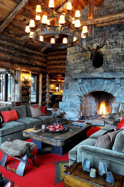 Suede Couch Living Room Rustic with Area Rug Chandelier Fireplace Gray Couch High Ceilings Living