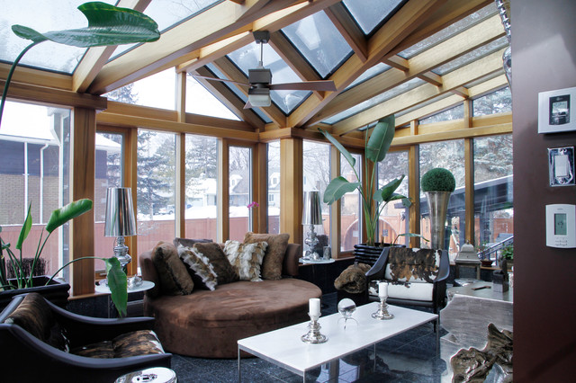 Suede Couch Sunroom Transitional with Animal Hide Chair Brown Suede Daybed Brown Wall Ceiling