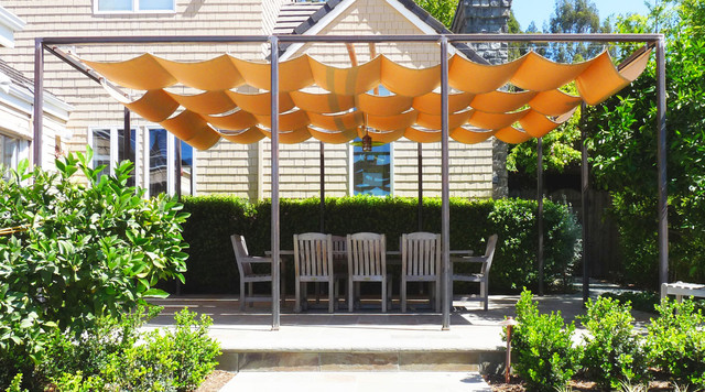 Sun Shade Sail Patio Traditional With Canvas Garden Lighting Hedge Outdoor Dining Path Furniture