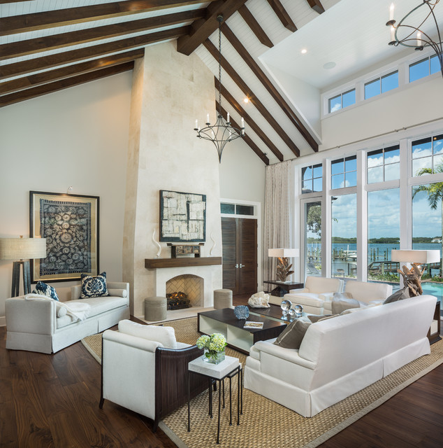 Sunbrella Furniture Living Room Transitional with Clerestory Windows Exposed Beams Peaked Roof Piithced Roof Recessed