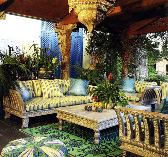 Sunbrella Furniture Patio Tropical with Area Rug Candle Holder Candles Carved Wood Ceiling Light