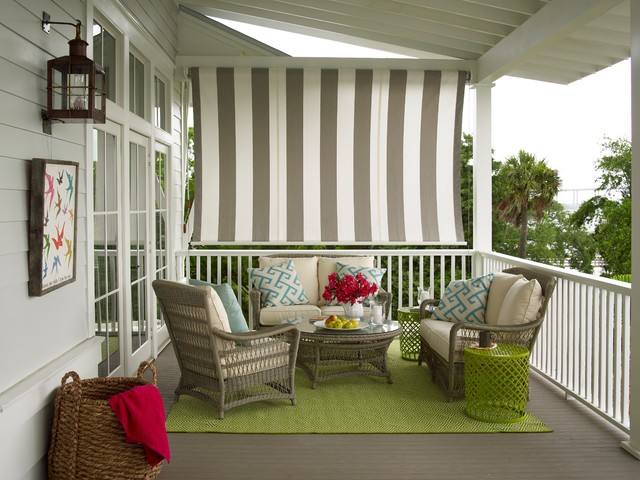 Sunbrella Furniture Porch Transitional with Canvas Exposed Rafters French Doors Green Rug Lime Green