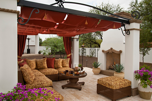 Sunbrella Outdoor Curtains Patio Mediterranean With Beige Outdoor  Cushions Brown Wicker Patio Furniture Cantera Covered