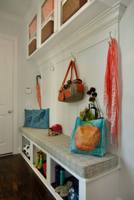 Sunbrella Replacement Cushions Entry Traditional with Baskets Beadboard Built in Bench Coat Hooks Entry Mudroom