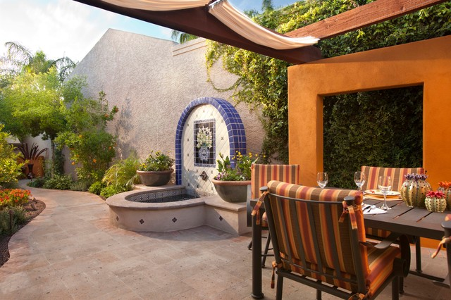 Sunbrella Replacement Cushions Patio Mediterranean with Blue Tile Climbing Vines Color Curves Path Fabric Canopy