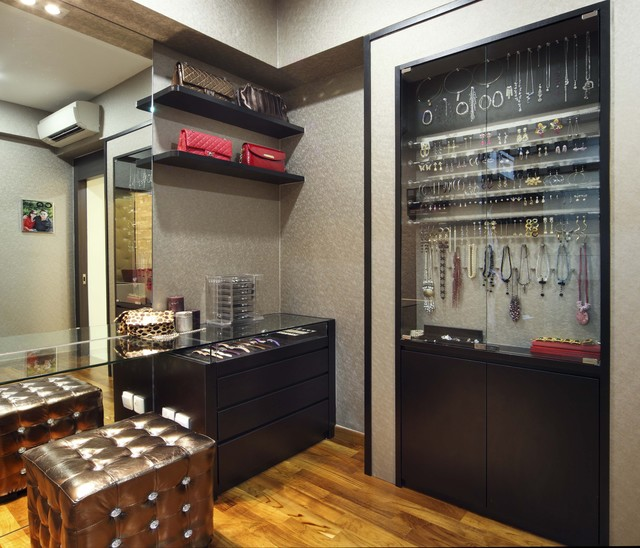 Sunglass Display Case Closet  Contemporary With Built In Cabinets Dressing Area Floating Shelves Glass Cases