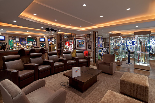 sunglass display case Home Theater Traditional with basement ceiling lighting collection cove lighting display shelves Home