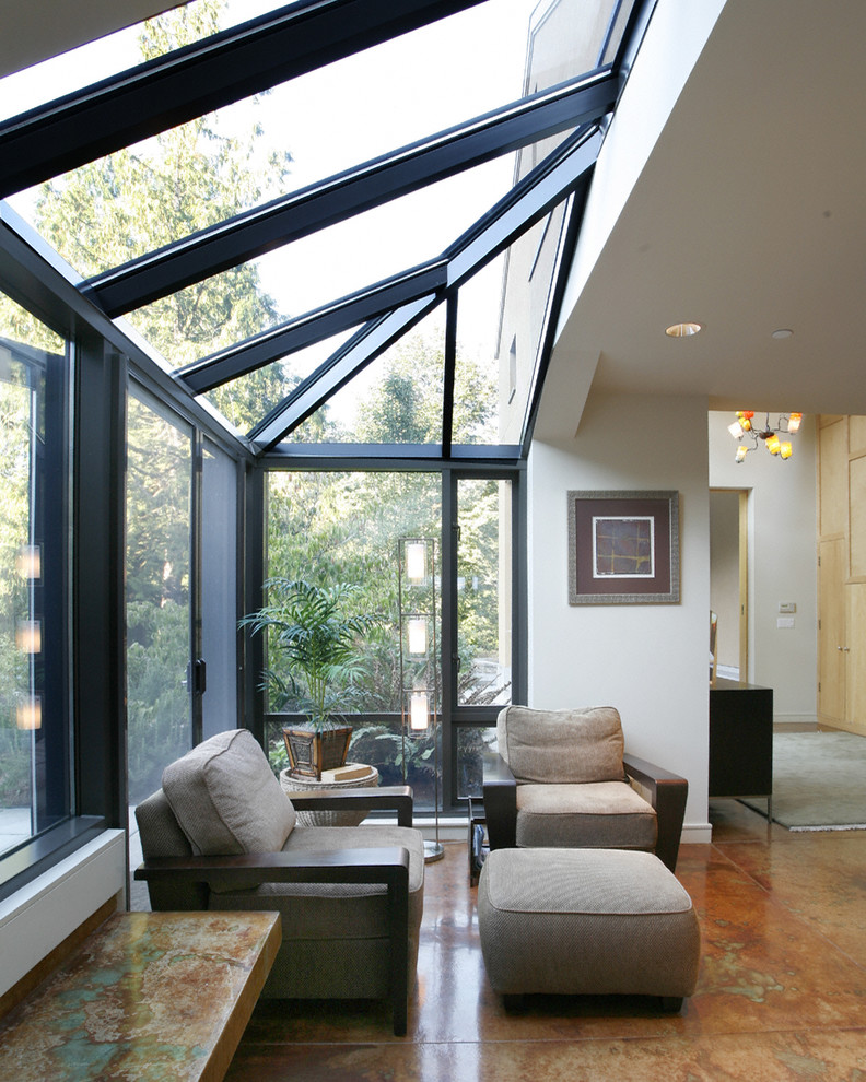 Sunroom Addition Entry Contemporary with Atrium Built in Bench Contemporary Chandelier Floor