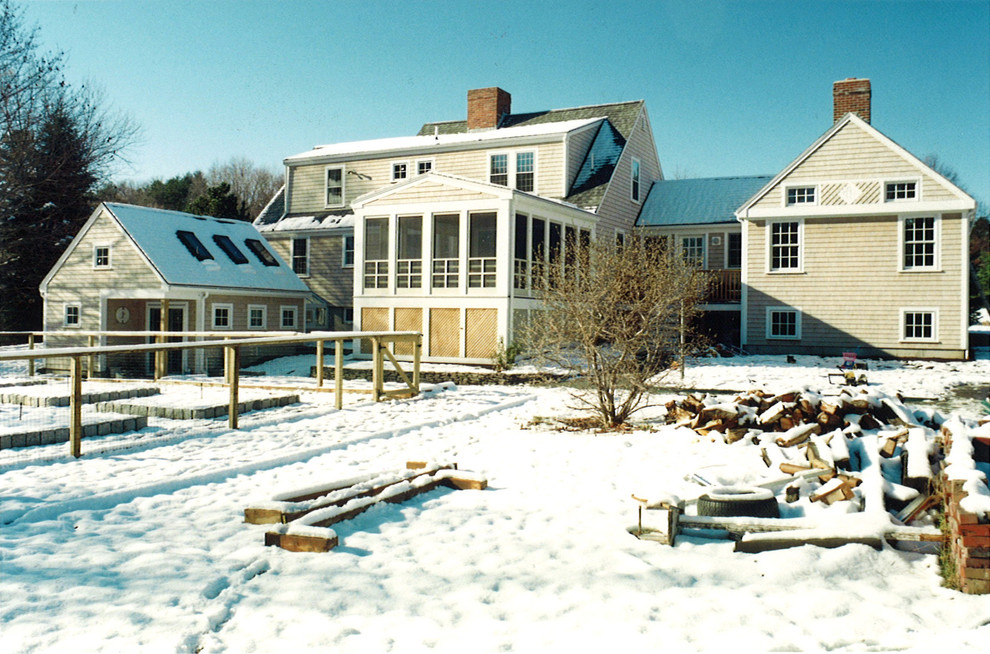 Sunroom Addition Exterior Rustic with Green Ipswich Maine Massachusetts New England New