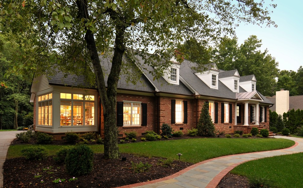 Sunroom Addition Exterior Traditional with Breakfast Room Brick House Brick Pathway Dormer