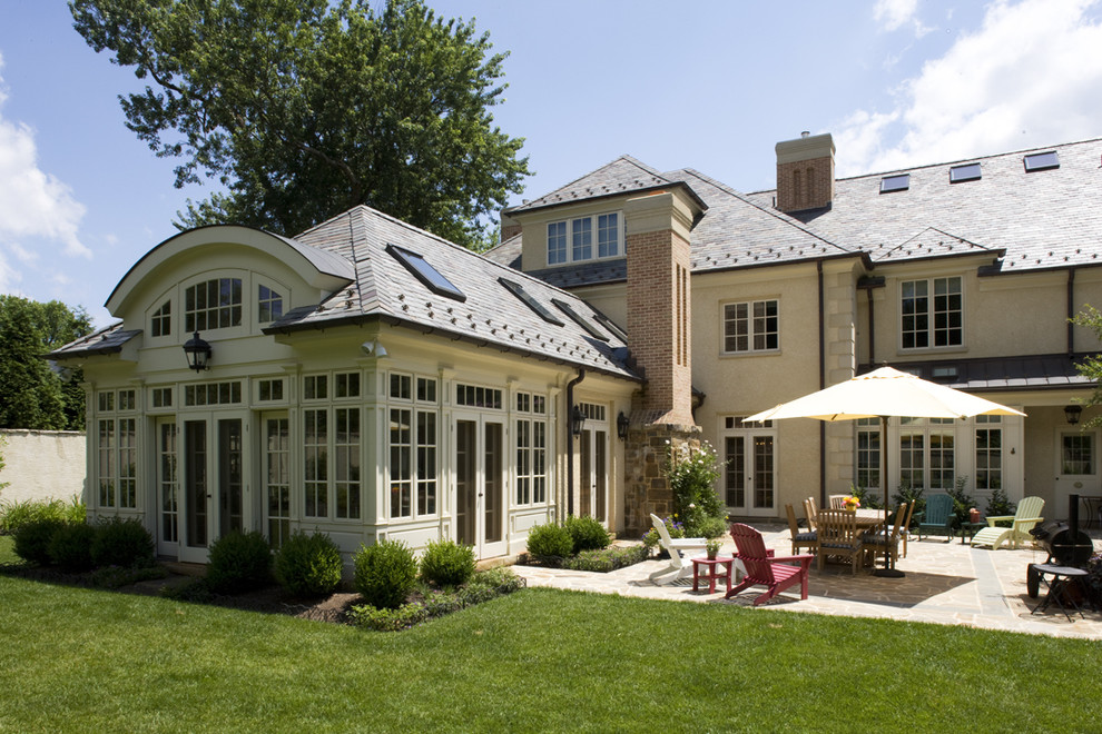 sunroom additions Patio Traditional with Adirondack chimney conservatory eyebrow window french doors