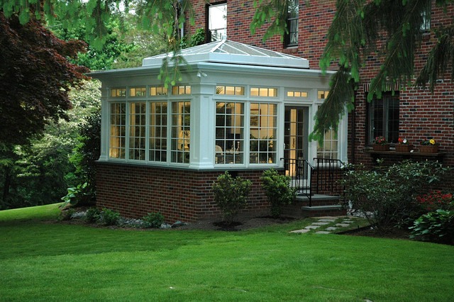 Sunroom Cost Exterior Traditional with 4 Season Addition Black Railing Brick Classic Conservatory Flowers