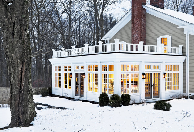 sunroom cost Exterior Traditional with add on additonal room classic style country country home