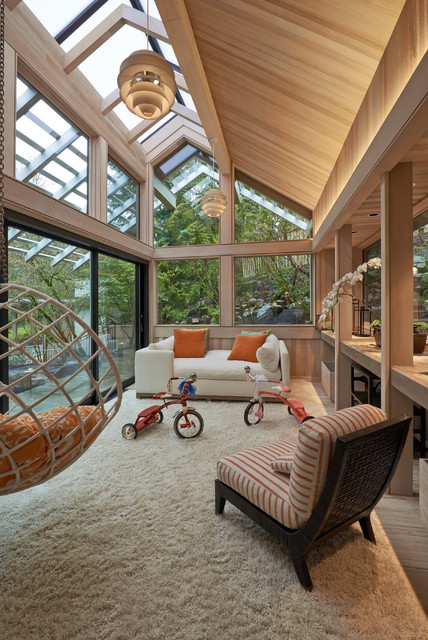 Sunroom Cost Sunroom Contemporary with Cathedral Ceiling Hanging Chair Pendant Light Striped Cushion Vaulted