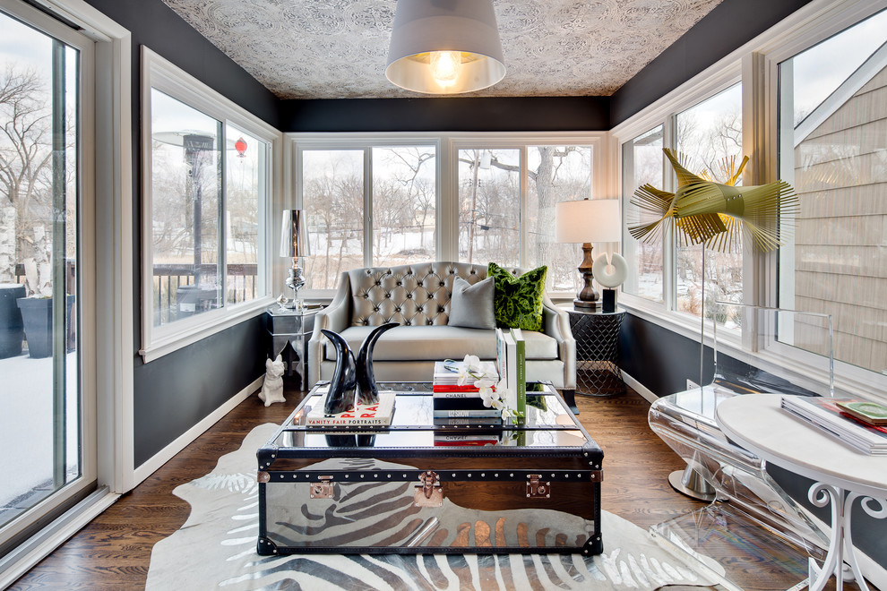 Marvelous Sunroom Designs Sunroom Eclectic With Black Paint  Black Walls Clear Chair Gray