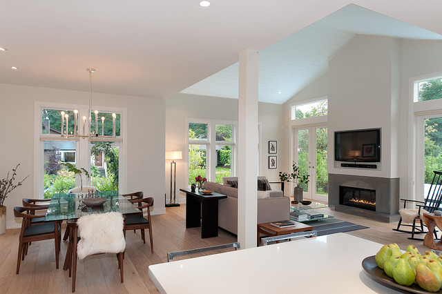 Superior Gas Fireplace Family Room Contemporary with Gas Fireplace Glass Dining Table Light Wood Floor Raked