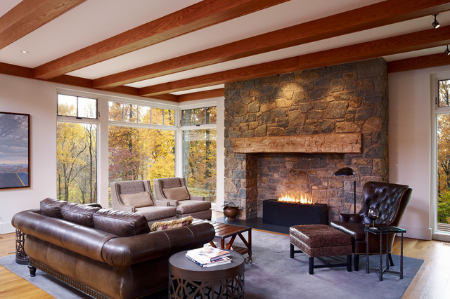 Superior Gas Fireplace Living Room Farmhouse with Ceiling Beams Cream Chairs Drum Side Table Floor Lamp
