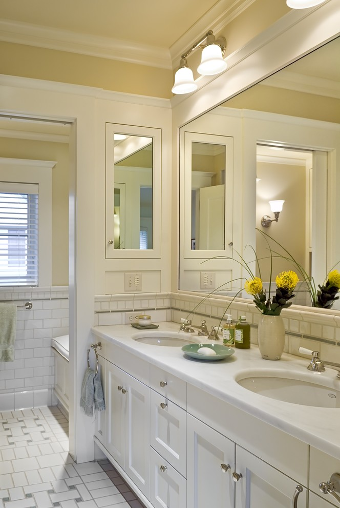 Surface Mount Medicine Cabinet Bathroom Victorian with Basket Weave Pattern Crown Molding Double Sinks1