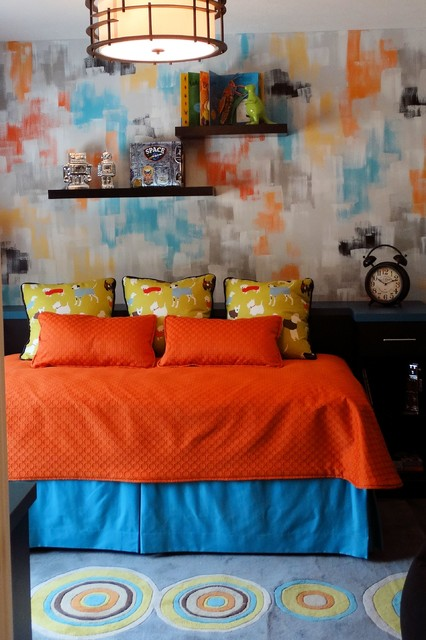 Surya Rug Kids Contemporary with Colorful Custom Bedding by Charleys Loft Custom Day Bed