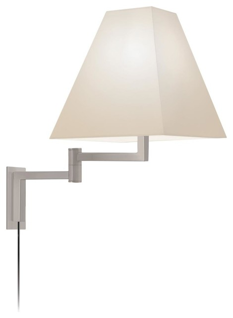 Swing Arm Wall Sconce with Satin Nickel Sonneman Satin Nickel Square Swing Arm Wall