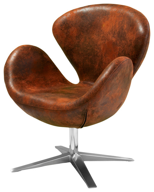 Swivel Armchair with Accent Chair Arm Chair Brown Microsuede Armchair Brown Retro