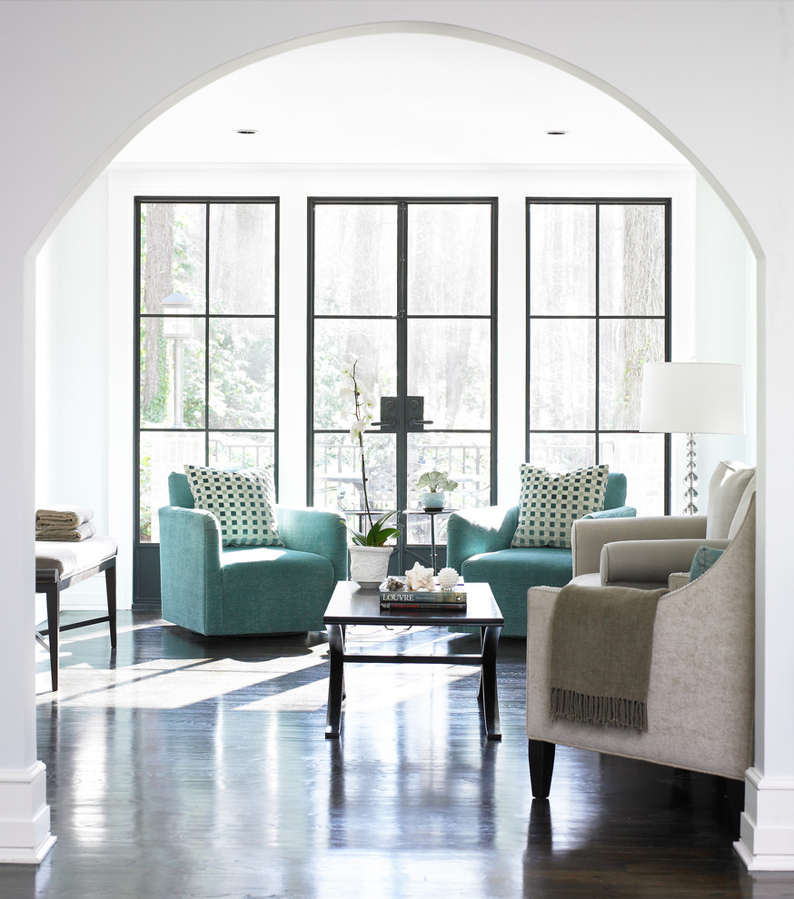 Swivel Barrel Chair Family Room Contemporary with Archway Black Metal Window Frame Dark Wood