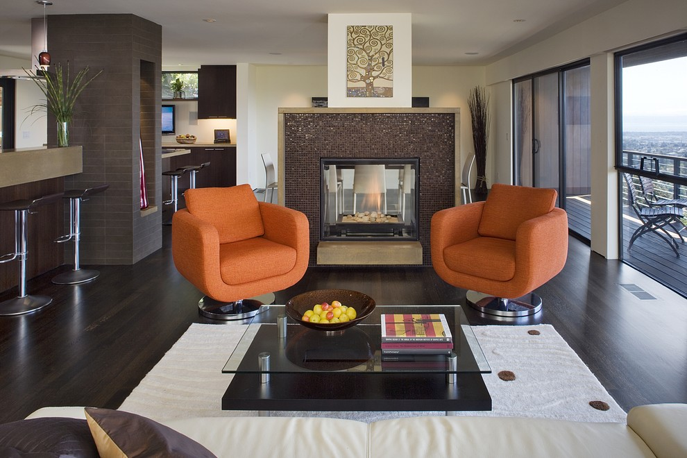 Swivel Club Chairs Living Room Contemporary with Area Rug Balcony Ceiling Lighting Dark Floor