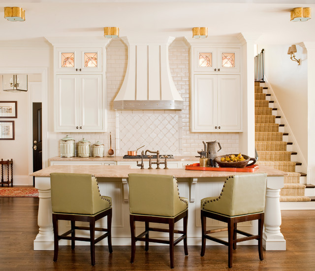 Swivel Counter Stools Kitchen Traditional with Arabesque Tile Beige Countertop Canister Set Carpet Stair Runner