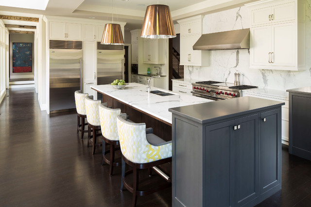 Swivel Counter Stools Kitchen Transitional with Gray Cabinet Pendant Lights Tray Ceiling Two Refrigerators Upholstered